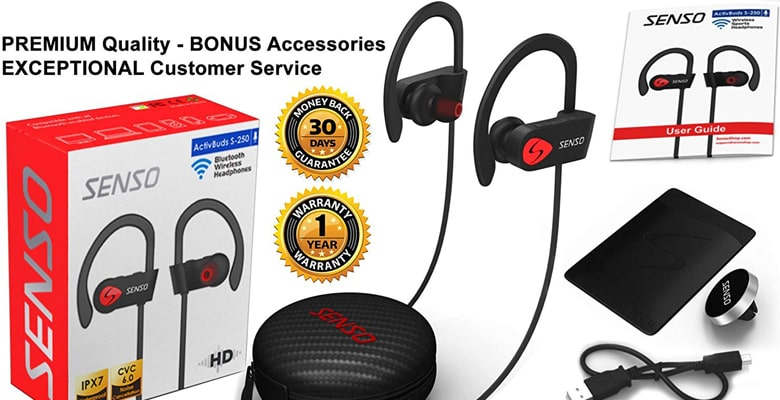 SENSO Best Wireless Sports Earphones - IPX7 Waterproof Earbuds under $20